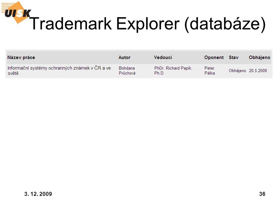 3. 12. 200936 Trademark Explorer (databáze)