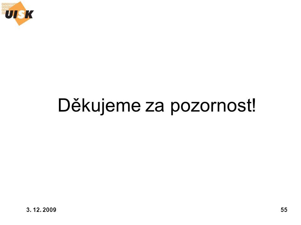3. 12. 200955 Děkujeme za pozornost!