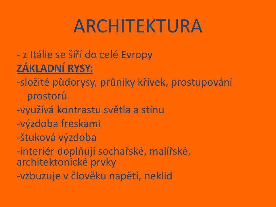 ARCHITEKTURA - z Itálie se šíří do celé Evropy ZÁKLADNÍ RYSY: -složité půdorysy, průniky křivek, prostupování prostorů -využívá kontrastu světla a stí
