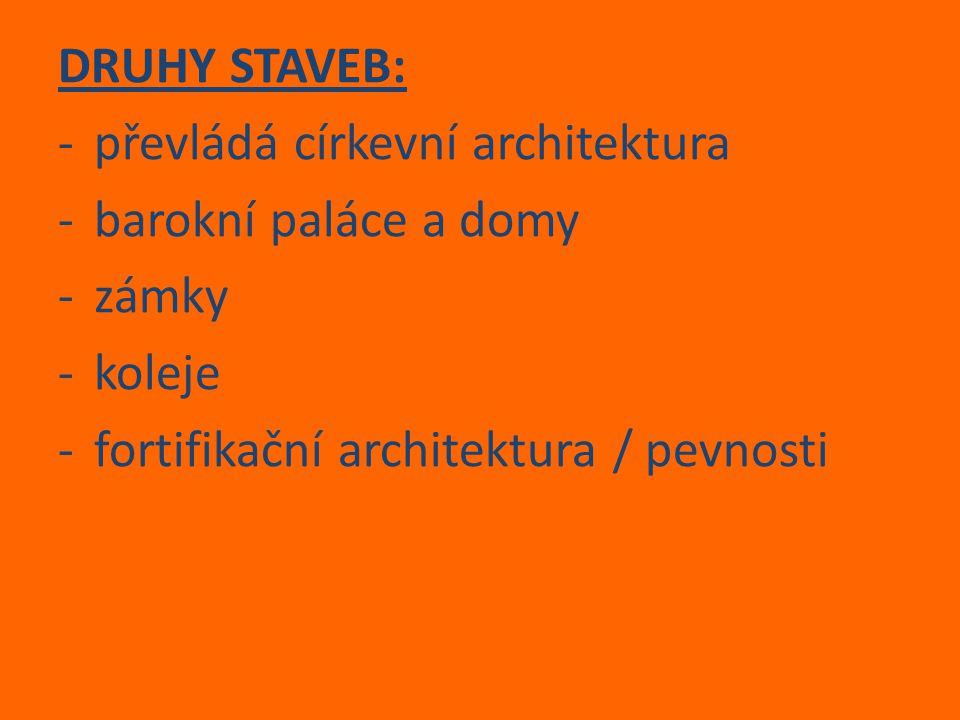 DRUHY STAVEB: -převládá církevní architektura -barokní paláce a domy -zámky -koleje -fortifikační architektura / pevnosti