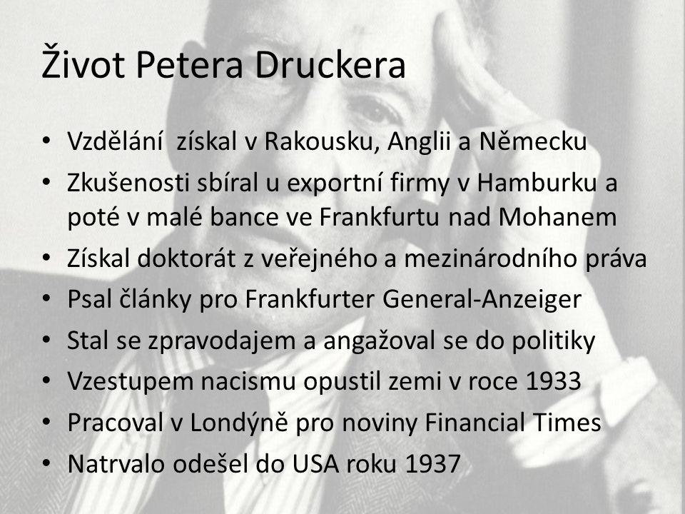 Život Petera Druckera Vzdělání získal v Rakousku, Anglii a Německu Zkušenosti sbíral u exportní firmy v Hamburku a poté v malé bance ve Frankfurtu nad