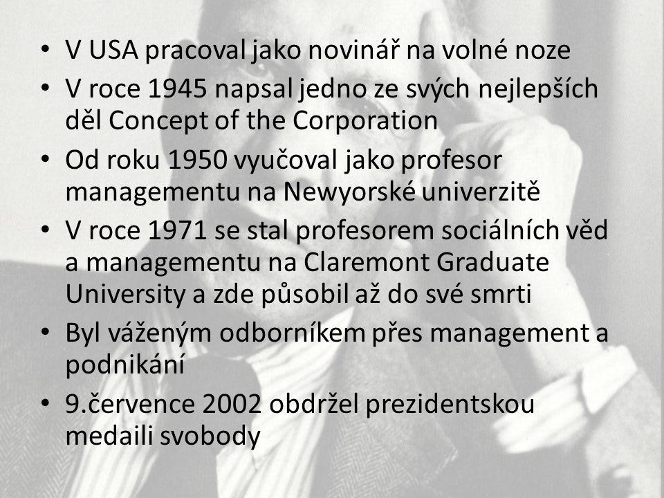 V USA pracoval jako novinář na volné noze V roce 1945 napsal jedno ze svých nejlepších děl Concept of the Corporation Od roku 1950 vyučoval jako profe