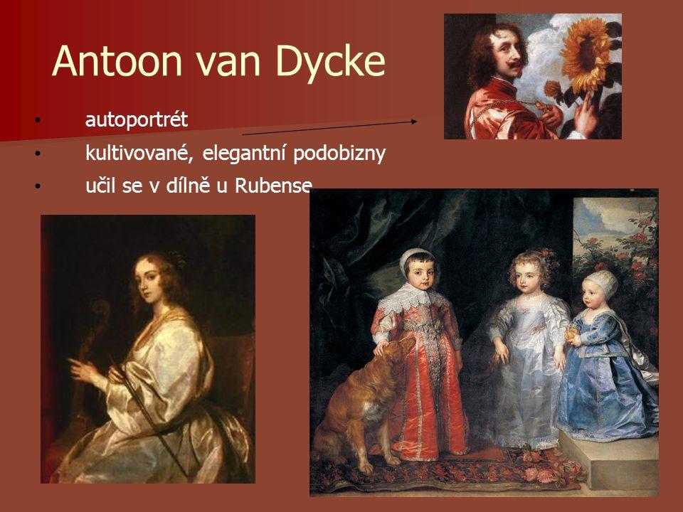 Antoon van Dycke autoportrét kultivované, elegantní podobizny učil se v dílně u Rubense