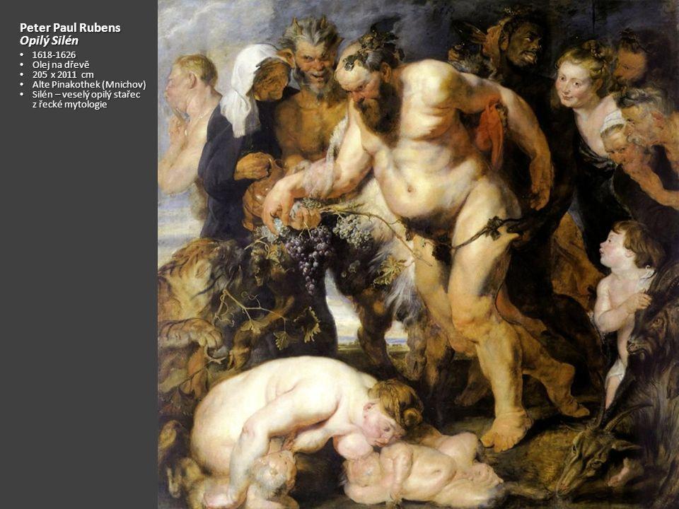 Peter Paul Rubens – Válka a mír 1629, olej na plátně, 203 x 298 cm 1629, olej na plátně, 203 x 298 cm National Gallery (Londýn) National Gallery (Londýn) Uprostřed Venuše krmící mlékem chlapce Uprostřed Venuše krmící mlékem chlapce Pod Venuší satyr s rohem hojnosti Pod Venuší satyr s rohem hojnosti Vlevo žena s klenoty, vlevo nahoře tančící žena Vlevo žena s klenoty, vlevo nahoře tančící žena Dole krotká šelma Dole krotká šelma Minerva (Moudrost) odstrkuje boha války Marta Minerva (Moudrost) odstrkuje boha války Marta