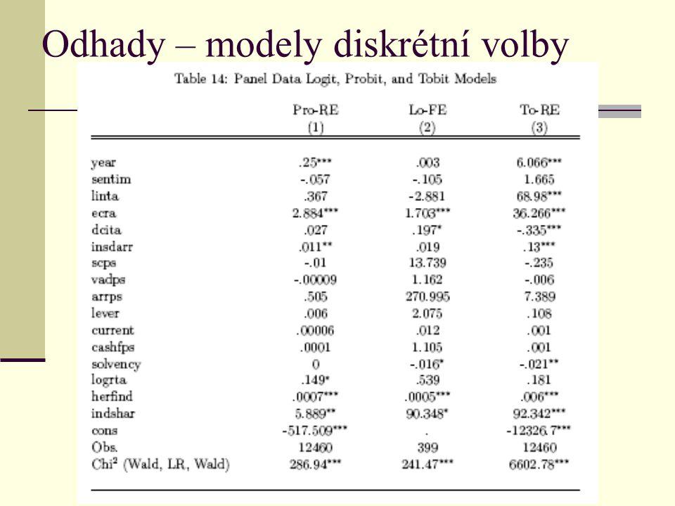 Odhady – modely diskrétní volby