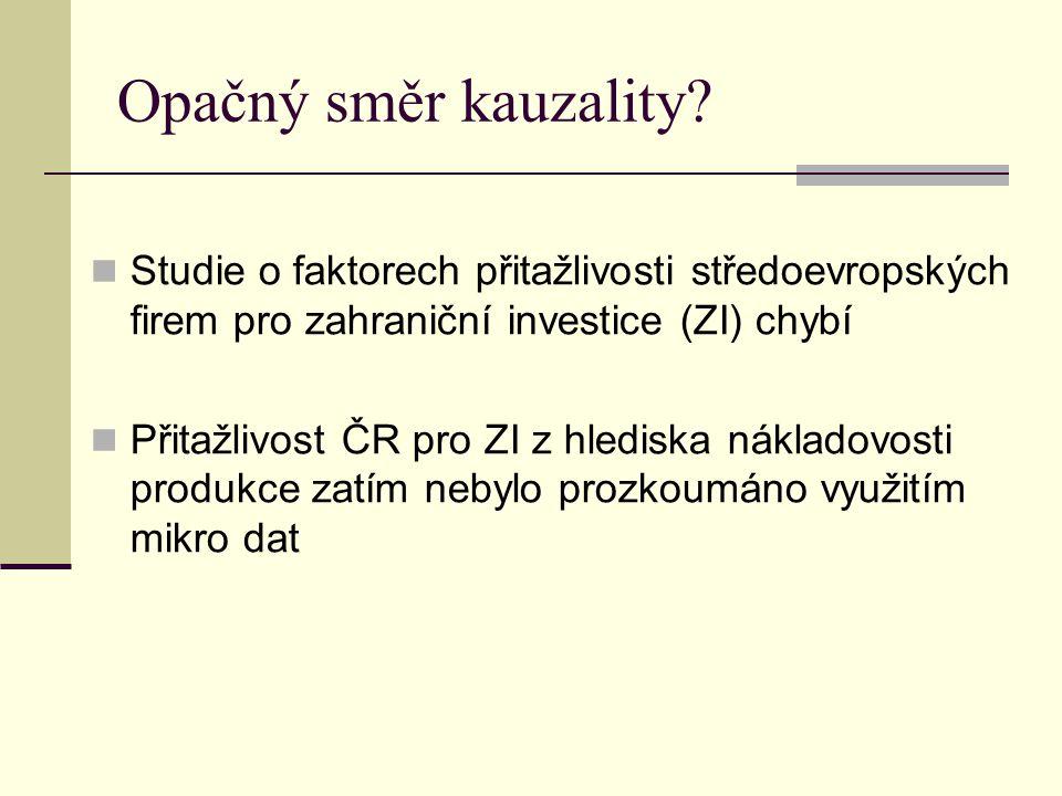 Opačný směr kauzality? Studie o faktorech přitažlivosti středoevropských firem pro zahraniční investice (ZI) chybí Přitažlivost ČR pro ZI z hlediska n