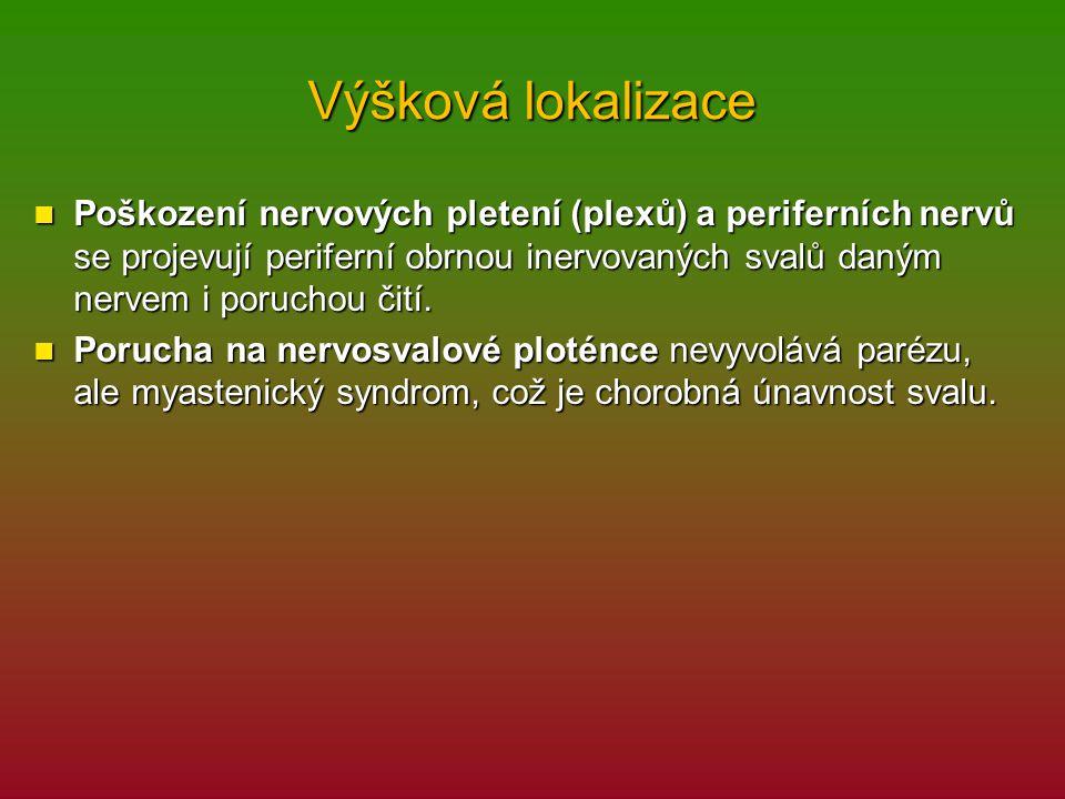 Výšková lokalizace Poškození nervových pletení (plexů) a periferních nervů se projevují periferní obrnou inervovaných svalů daným nervem i poruchou či