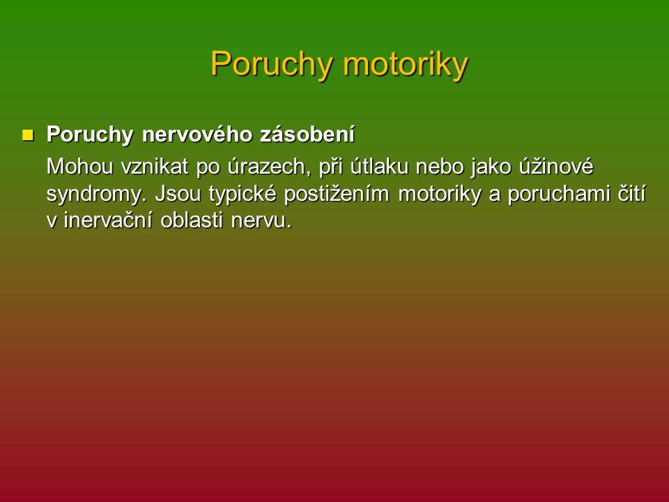 Poruchy motoriky Poruchy motoriky Poruchy nervového zásobení Poruchy nervového zásobení Mohou vznikat po úrazech, při útlaku nebo jako úžinové syndromy.