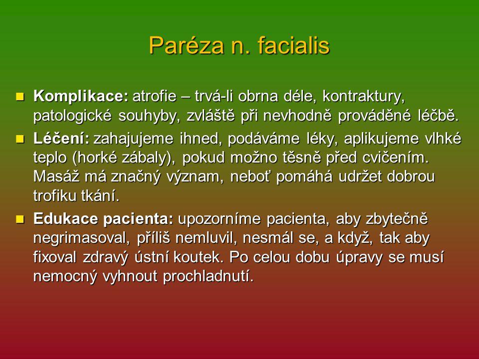 Paréza n. facialis Komplikace: atrofie – trvá-li obrna déle, kontraktury, patologické souhyby, zvláště při nevhodně prováděné léčbě. Komplikace: atrof