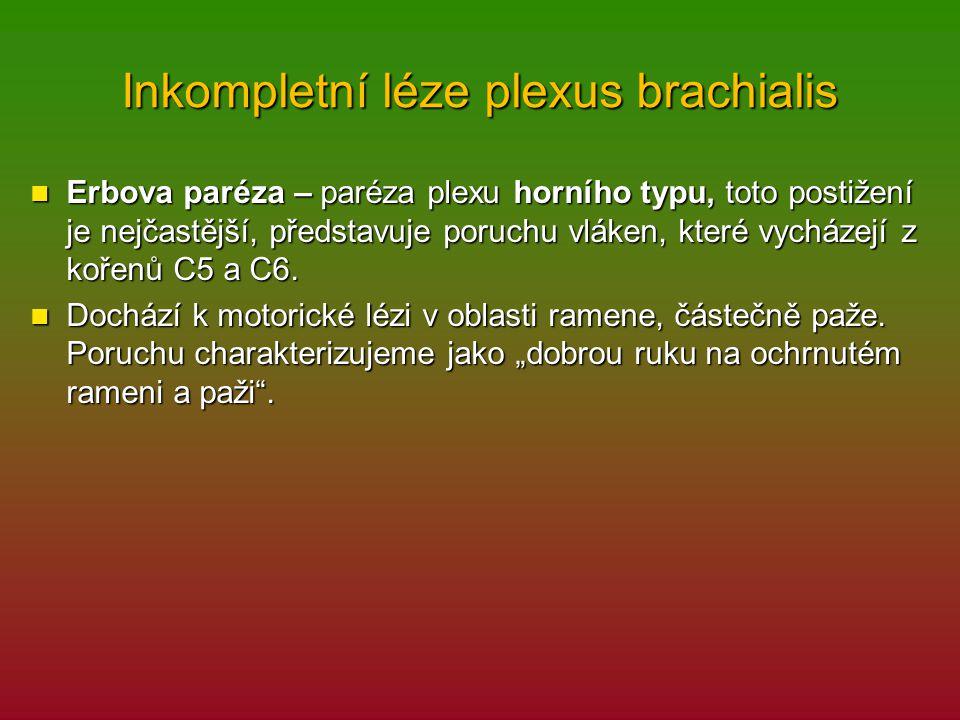 Inkompletní léze plexus brachialis Erbova paréza – paréza plexu horního typu, toto postižení je nejčastější, představuje poruchu vláken, které vycháze