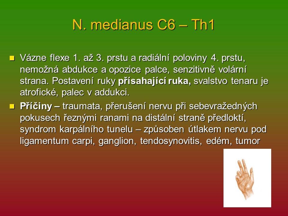 N. medianus C6 – Th1 Vázne flexe 1. až 3. prstu a radiální poloviny 4. prstu, nemožná abdukce a opozice palce, senzitivně volární strana. Postavení ru