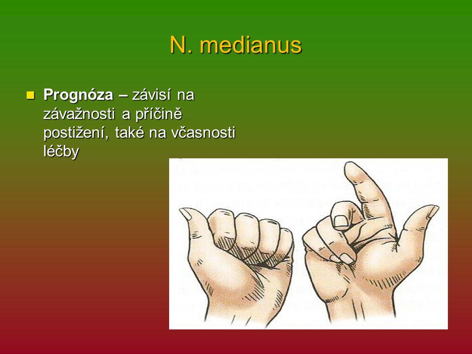 N. medianus Prognóza – závisí na závažnosti a příčině postižení, také na včasnosti léčby Prognóza – závisí na závažnosti a příčině postižení, také na