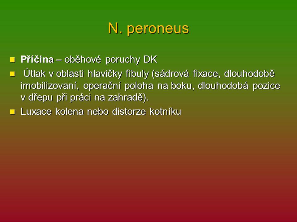 N. peroneus Příčina – oběhové poruchy DK Příčina – oběhové poruchy DK Útlak v oblasti hlavičky fibuly (sádrová fixace, dlouhodobě imobilizovaní, opera