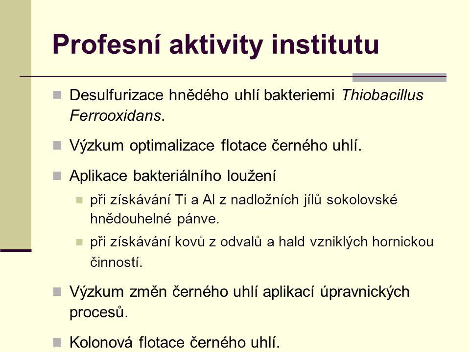 Profesní aktivity institutu Desulfurizace hnědého uhlí bakteriemi Thiobacillus Ferrooxidans.