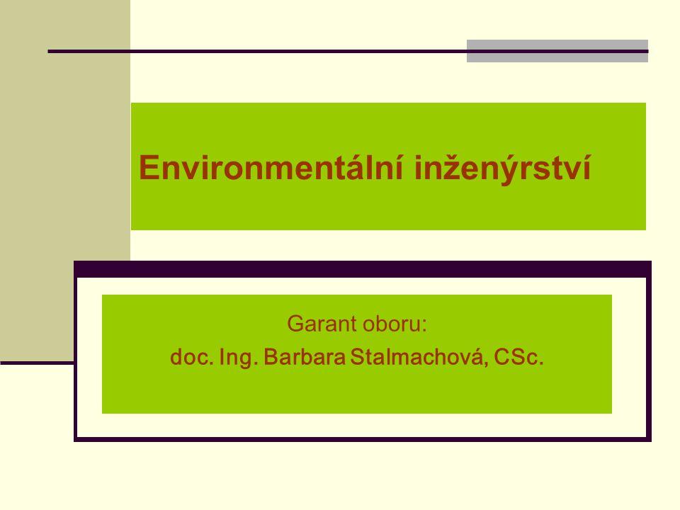 Environmentální inženýrství Garant oboru: doc. Ing. Barbara Stalmachová, CSc.