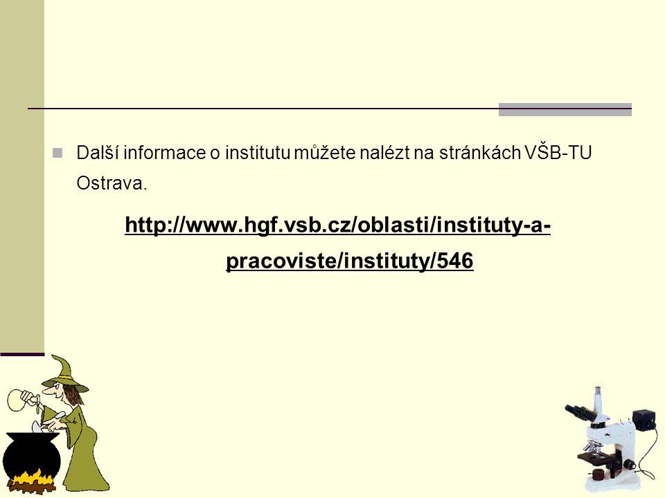 Další informace o institutu můžete nalézt na stránkách VŠB-TU Ostrava.