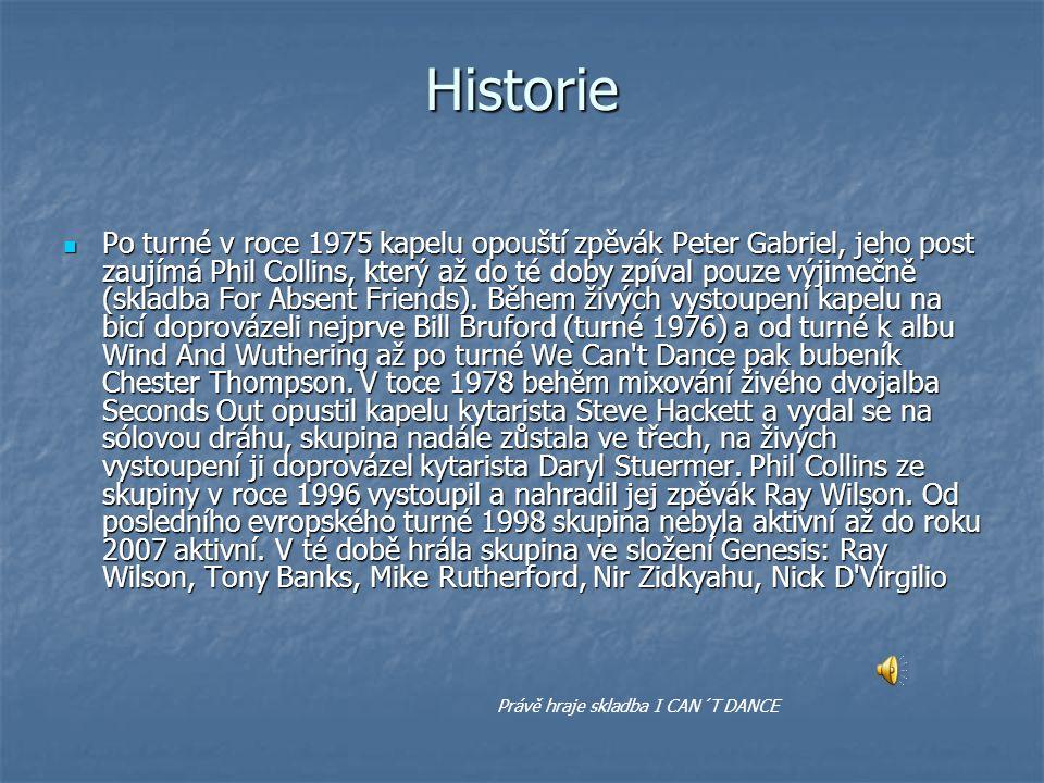 Historie Po turné v roce 1975 kapelu opouští zpěvák Peter Gabriel, jeho post zaujímá Phil Collins, který až do té doby zpíval pouze výjimečně (skladba