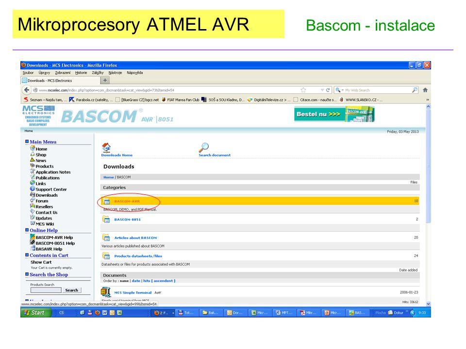 Mikroprocesory ATMEL AVR Bascom - instalace