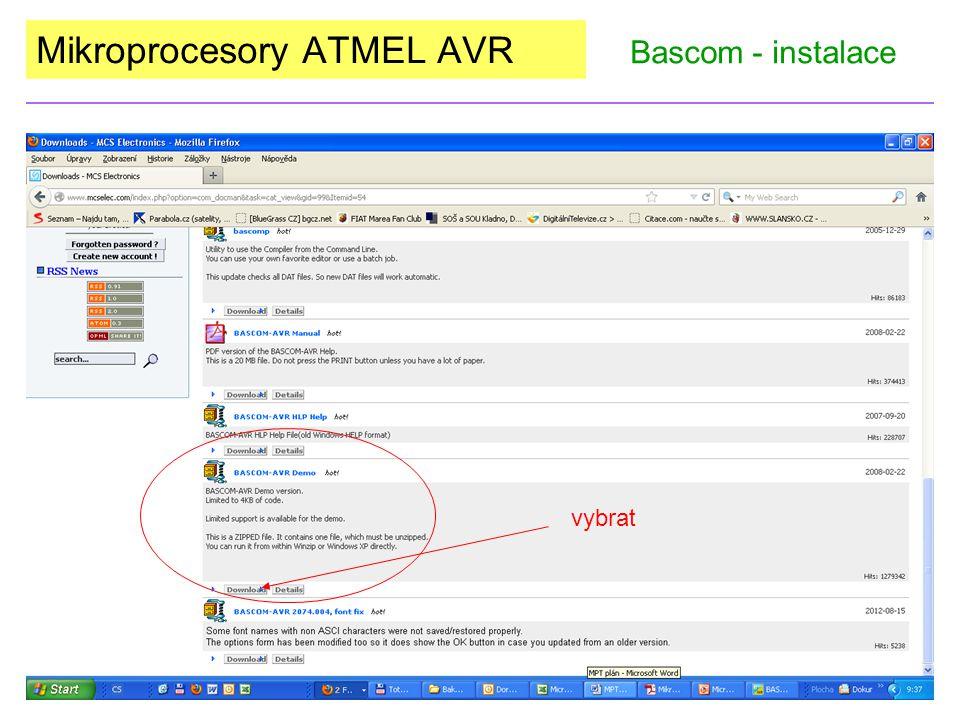 Mikroprocesory ATMEL AVR Bascom - instalace vybrat