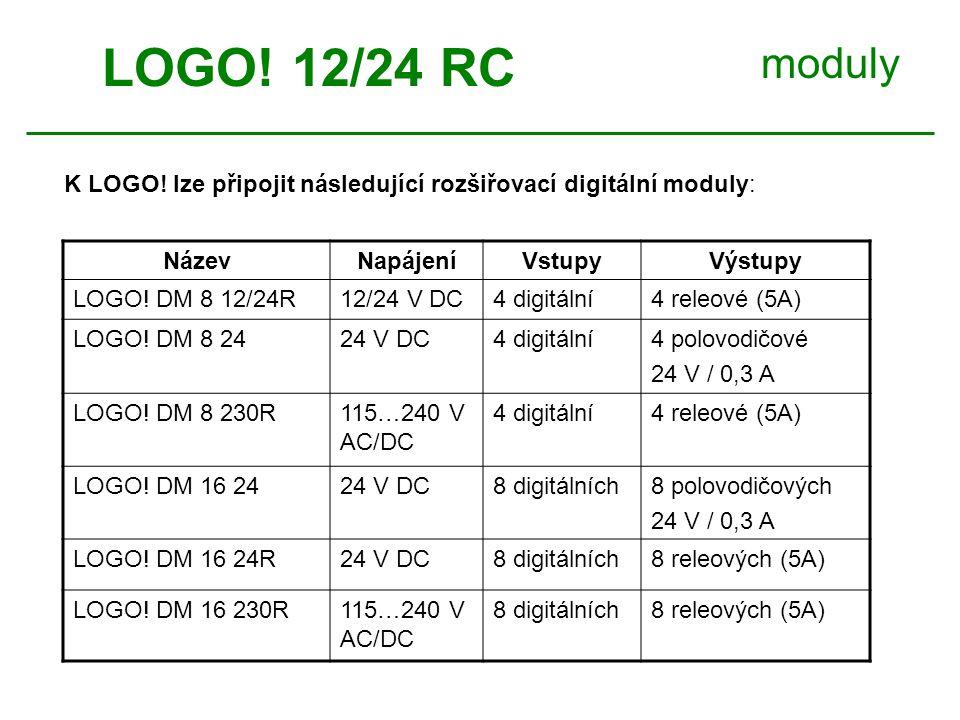 moduly NázevNapájeníVstupyVýstupy LOGO. DM 8 12/24R12/24 V DC4 digitální4 releové (5A) LOGO.