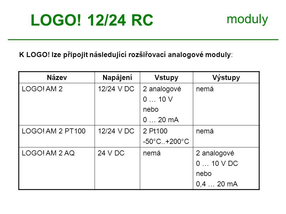 moduly NázevNapájeníVstupyVýstupy LOGO.