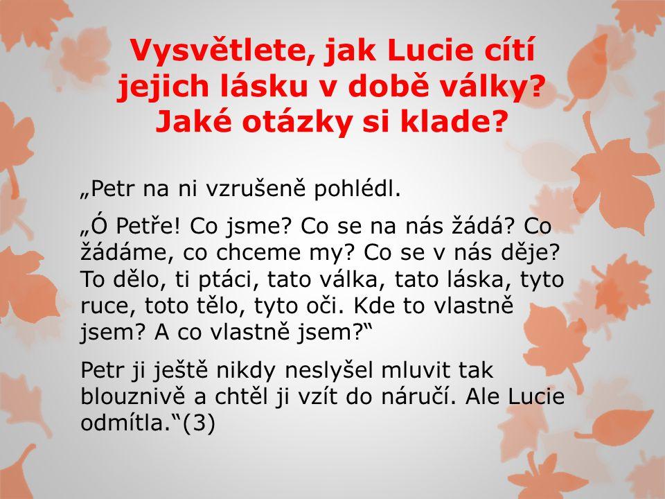 Vysvětlete, jak Lucie cítí jejich lásku v době války.