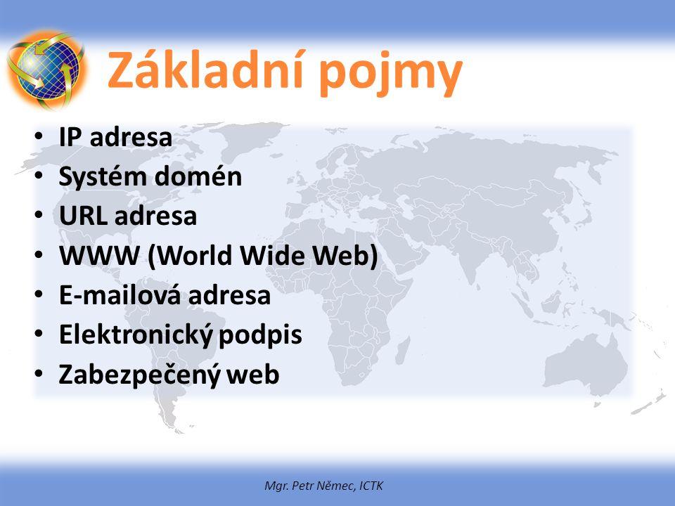 Mgr. Petr Němec, ICTK Základní pojmy IP adresa Systém domén URL adresa WWW (World Wide Web) E-mailová adresa Elektronický podpis Zabezpečený web