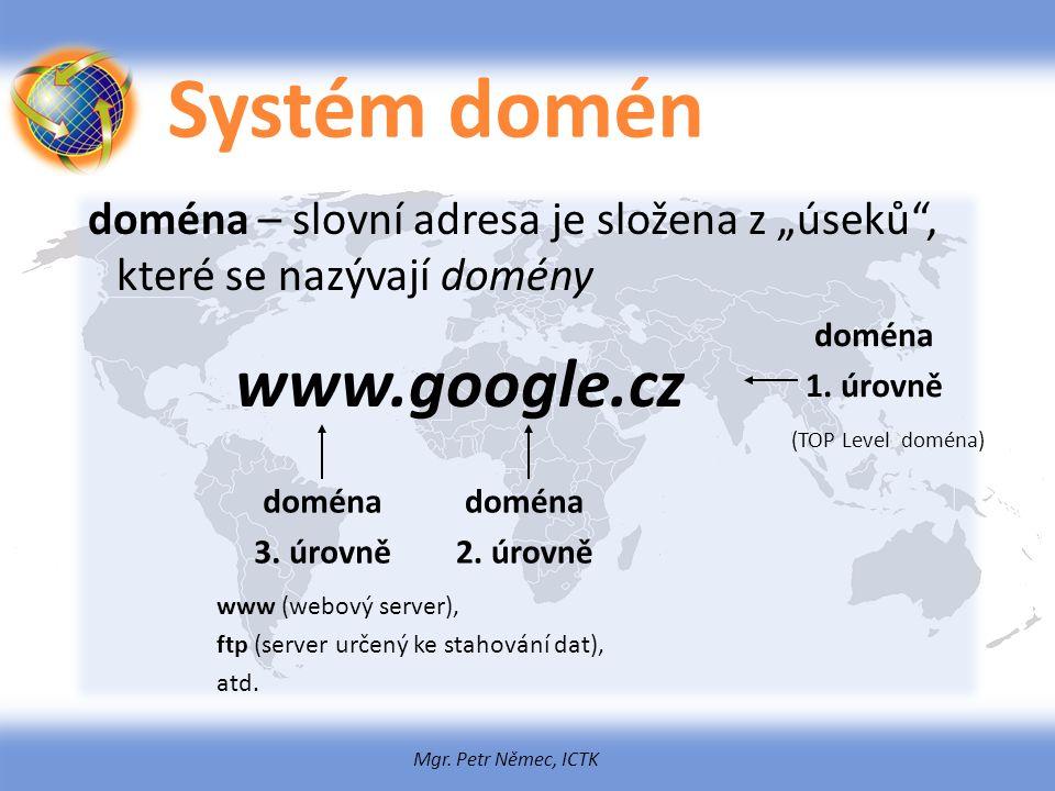 """Mgr. Petr Němec, ICTK Systém domén doména – slovní adresa je složena z """"úseků"""", které se nazývají domény www.google.cz doména 1. úrovně doména 2. úrov"""