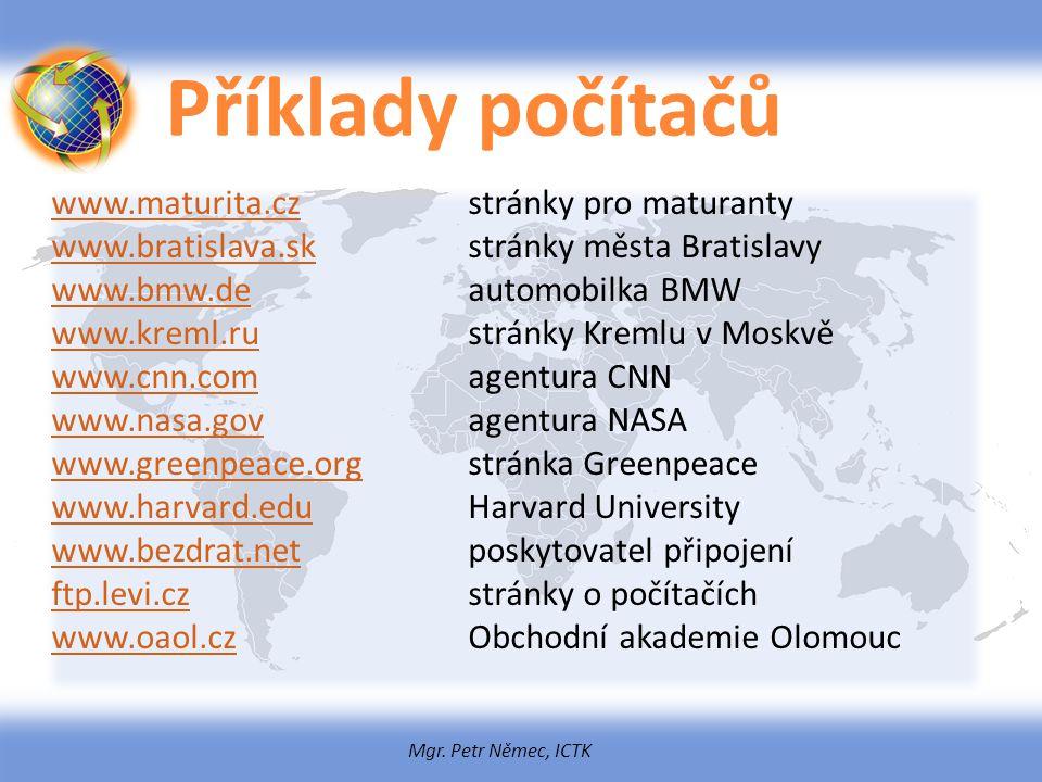 Mgr. Petr Němec, ICTK Příklady počítačů www.maturita.czwww.maturita.czstránky pro maturanty www.bratislava.skwww.bratislava.skstránky města Bratislavy