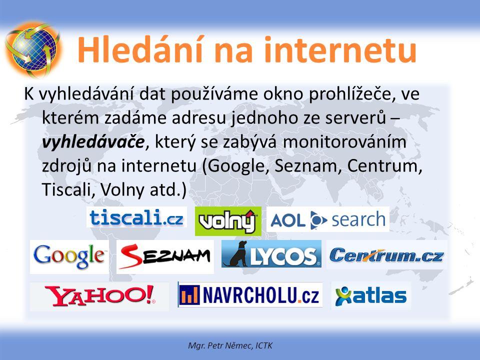 Mgr. Petr Němec, ICTK Hledání na internetu K vyhledávání dat používáme okno prohlížeče, ve kterém zadáme adresu jednoho ze serverů – vyhledávače, kter
