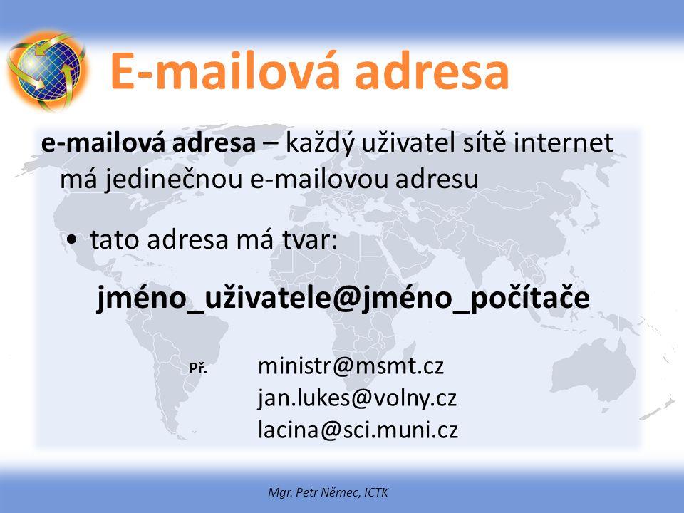 Mgr. Petr Němec, ICTK E-mailová adresa e-mailová adresa – každý uživatel sítě internet má jedinečnou e-mailovou adresu tato adresa má tvar: jméno_uživ