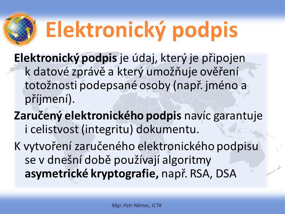 Mgr. Petr Němec, ICTK Elektronický podpis Elektronický podpis je údaj, který je připojen k datové zprávě a který umožňuje ověření totožnosti podepsané