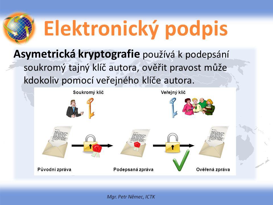 Mgr. Petr Němec, ICTK Elektronický podpis Asymetrická kryptografie používá k podepsání soukromý tajný klíč autora, ověřit pravost může kdokoliv pomocí