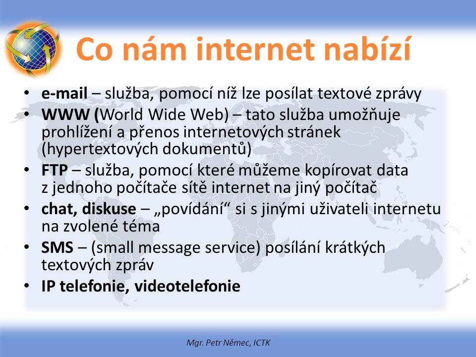 Mgr. Petr Němec, ICTK Co nám internet nabízí e-mail – služba, pomocí níž lze posílat textové zprávy WWW (World Wide Web) – tato služba umožňuje prohlí