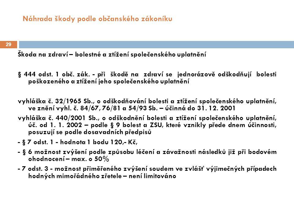 Náhrada škody podle občanského zákoníku 29 Škoda na zdraví – bolestné a ztížení společenského uplatnění § 444 odst.