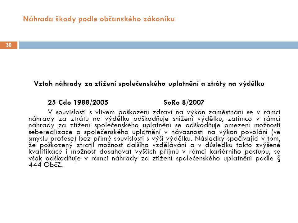 Náhrada škody podle občanského zákoníku 31 Mimořádné zvýšení náhrady za ztížení společenského uplatnění R 10/1992 Předpokladem přiměřeného zvýšení částky odpovídající základnímu počtu bodů zjištěnému lékařem (ve smyslu ustanovení § 6 odst.
