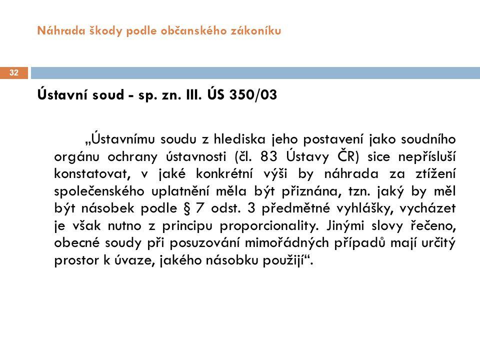 Náhrada škody podle občanského zákoníku 32 Ústavní soud - sp.