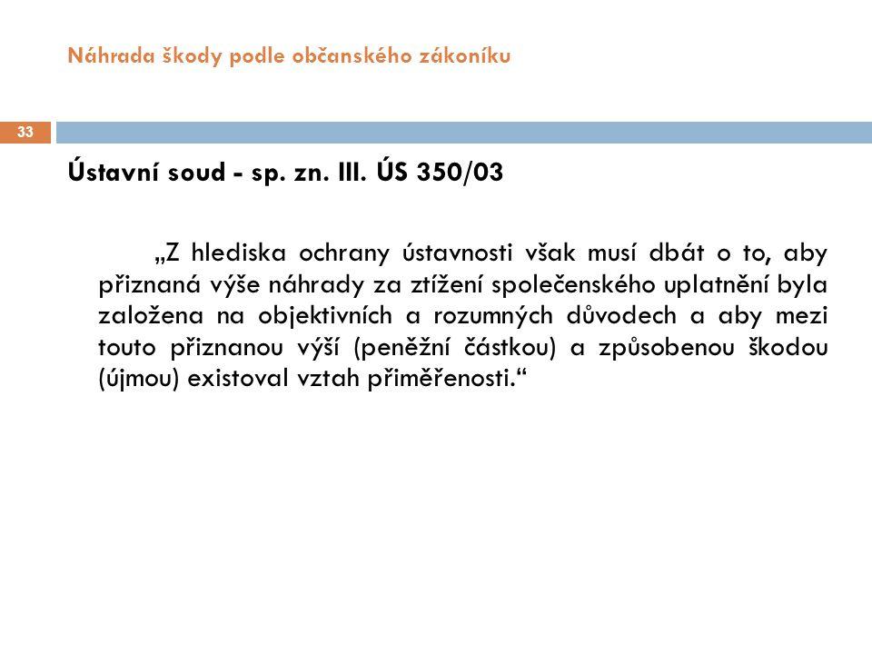 Náhrada škody podle občanského zákoníku 33 Ústavní soud - sp.