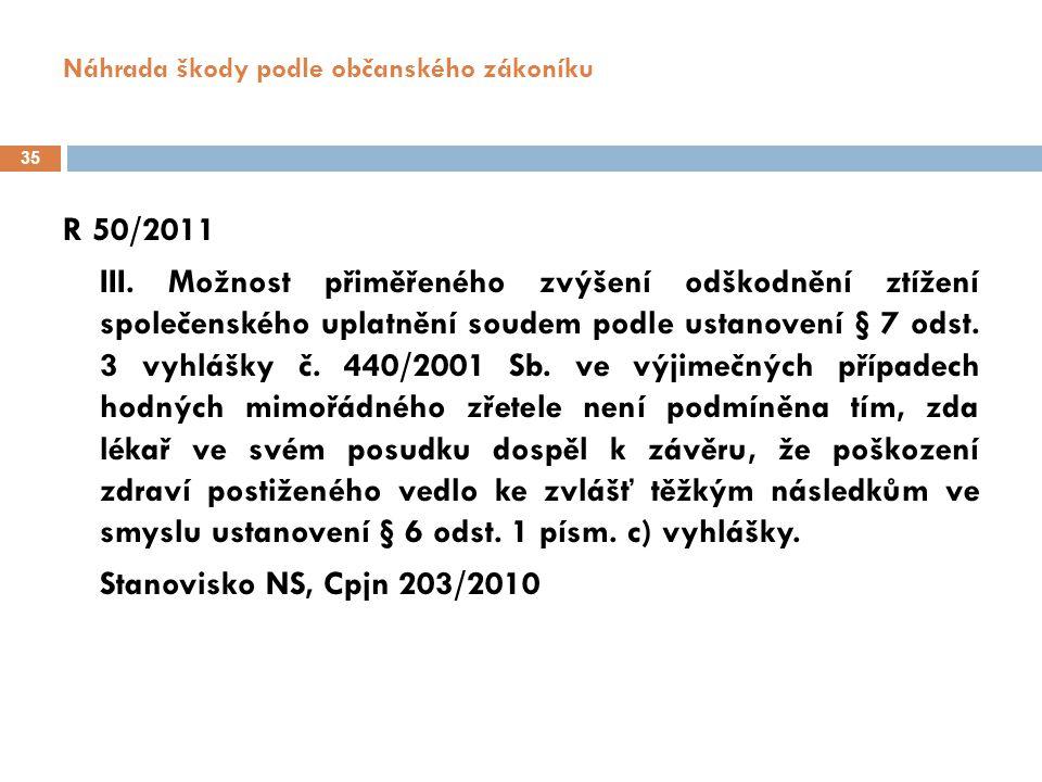 Náhrada škody podle občanského zákoníku 36 Judikatura NS ČR ke zvyšování náhrady za ZSU (SoRo 8/2007)  25 Cdo 847/2004 – mnohonásobné zvýšení (Soubor C 3129)  25 Cdo 2497/2004 - zvýšení náhrady u mladého vrcholového sportovce (Soubor C 4016)  25 Cdo 2186/2004 - výše náhrady při trvalém ochrnutí (Soubor C 4286)  25 Cdo 1575/2005 - zvýšení náhrady při následcích vedoucích ke ztrátě zaměstnání a zájmové činnosti s řadou omezení v rodinném životě (Soubor C 4823)  25 Cdo 759/2005 - výjimečné zvýšení náhrady při plné ztrátě sebeobsluhy (Soubor C 4277)  25 Cdo 2596/2006 – novorozená dívka - (Soubor C 6566)