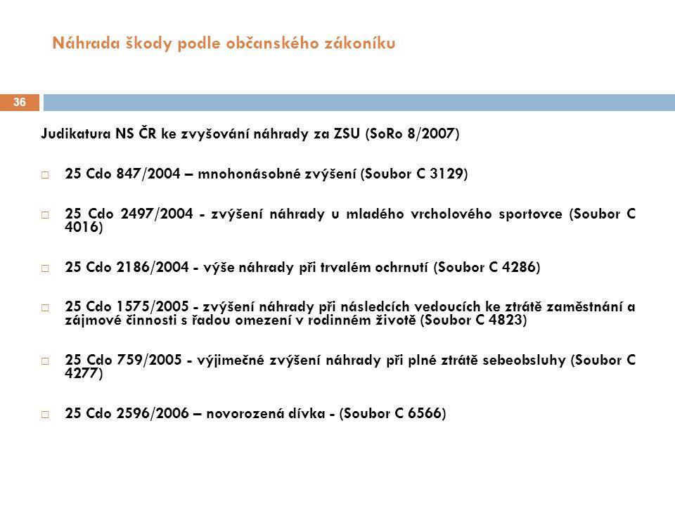 Náhrada škody podle občanského zákoníku 37 Škoda na zdraví – nároky pozůstalých § 444 odst.
