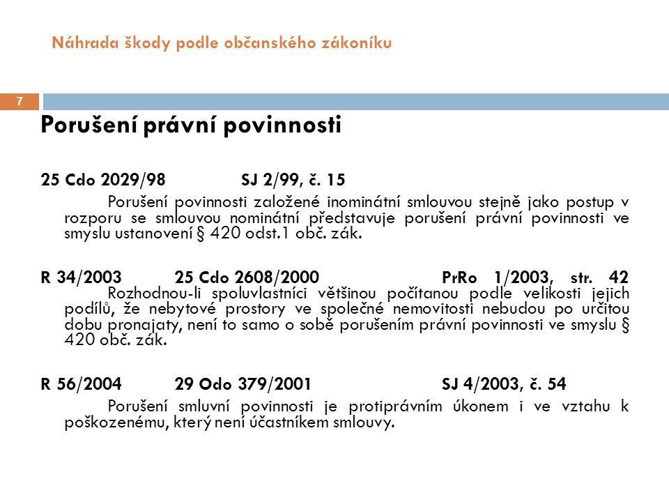 Náhrada škody podle občanského zákoníku 7 Porušení právní povinnosti 25 Cdo 2029/98 SJ 2/99, č.