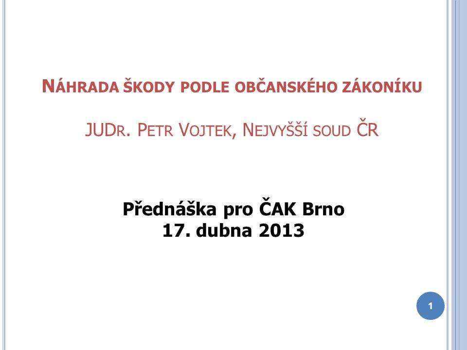 N ÁHRADA ŠKODY PODLE OBČANSKÉHO ZÁKONÍKU JUD R. P ETR V OJTEK, N EJVYŠŠÍ SOUD ČR Přednáška pro ČAK Brno 17. dubna 2013 1