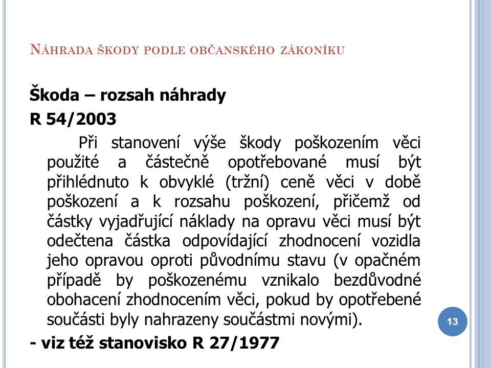 N ÁHRADA ŠKODY PODLE OBČANSKÉHO ZÁKONÍKU Škoda – rozsah náhrady R 54/2003 Při stanovení výše škody poškozením věci použité a částečně opotřebované mus