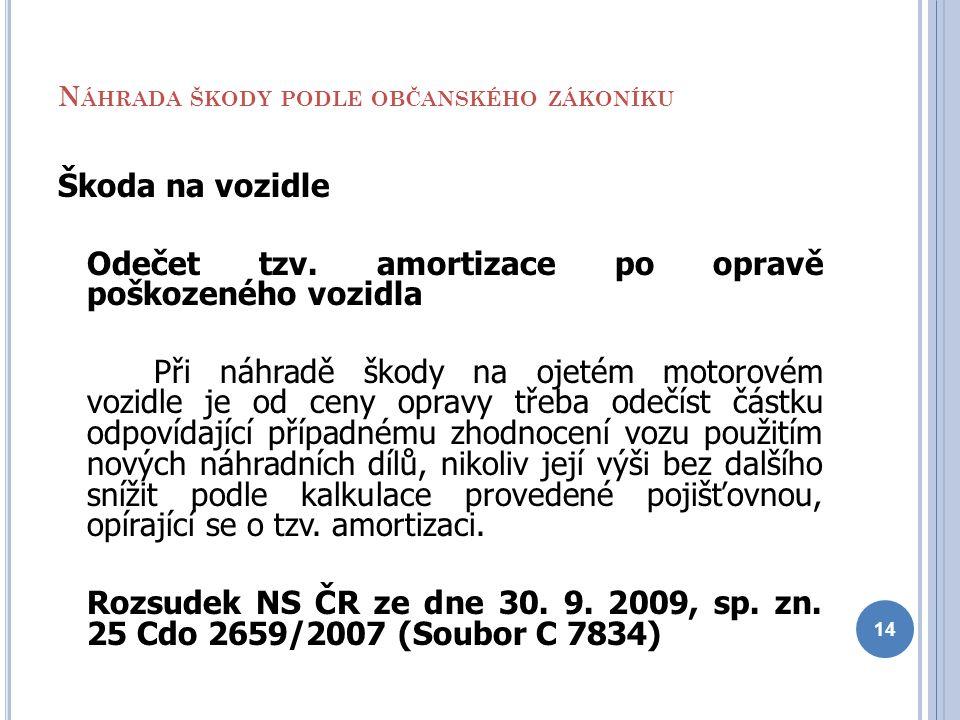 N ÁHRADA ŠKODY PODLE OBČANSKÉHO ZÁKONÍKU Škoda na vozidle Odečet tzv. amortizace po opravě poškozeného vozidla Při náhradě škody na ojetém motorovém v