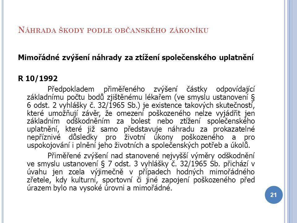 N ÁHRADA ŠKODY PODLE OBČANSKÉHO ZÁKONÍKU Mimořádné zvýšení náhrady za ztížení společenského uplatnění R 10/1992 Předpokladem přiměřeného zvýšení částk