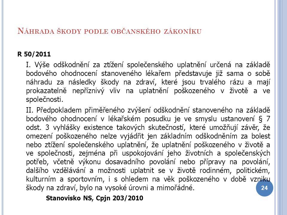 N ÁHRADA ŠKODY PODLE OBČANSKÉHO ZÁKONÍKU R 50/2011 I. Výše odškodnění za ztížení společenského uplatnění určená na základě bodového ohodnocení stanove