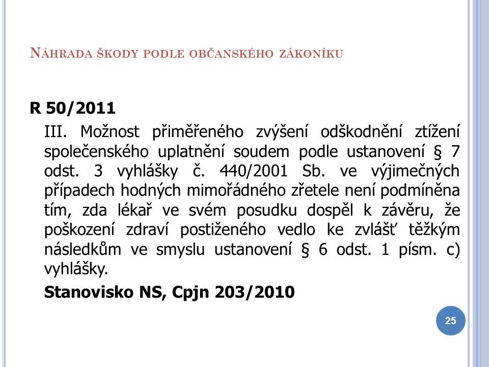 N ÁHRADA ŠKODY PODLE OBČANSKÉHO ZÁKONÍKU R 50/2011 III. Možnost přiměřeného zvýšení odškodnění ztížení společenského uplatnění soudem podle ustanovení