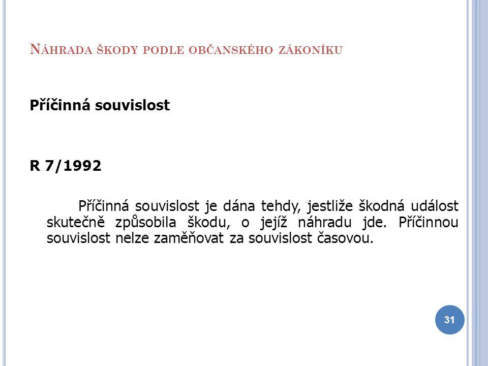 N ÁHRADA ŠKODY PODLE OBČANSKÉHO ZÁKONÍKU Příčinná souvislost R 7/1992 Příčinná souvislost je dána tehdy, jestliže škodná událost skutečně způsobila šk