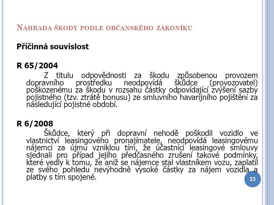 N ÁHRADA ŠKODY PODLE OBČANSKÉHO ZÁKONÍKU Příčinná souvislost R 65/2004 Z titulu odpovědnosti za škodu způsobenou provozem dopravního prostředku neodpo