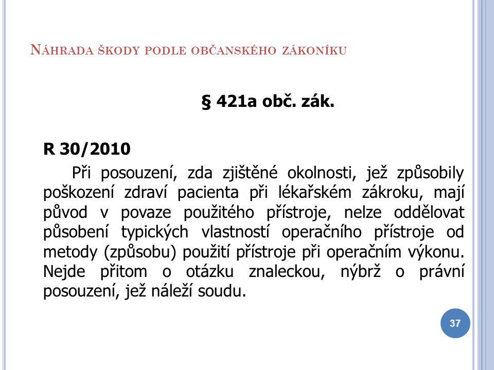 N ÁHRADA ŠKODY PODLE OBČANSKÉHO ZÁKONÍKU § 421a obč. zák. R 30/2010 Při posouzení, zda zjištěné okolnosti, jež způsobily poškození zdraví pacienta při